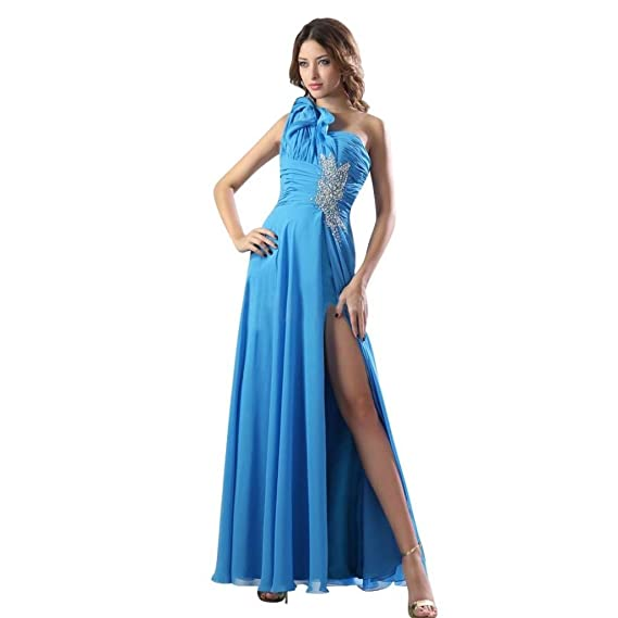 Dearta Womens Sheath One-Shoulder Ankle-Length Prom Dresses US 2 Blue