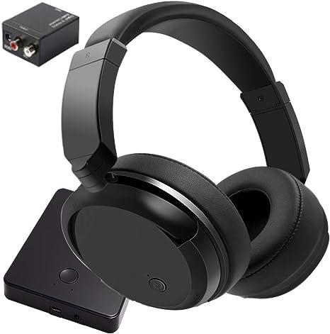 Audífonos inalámbricos para ver televisión, 2,4 GHz auriculares inalámbricos de TV (soporte óptico, 3,5 mm AUX, RCA), transmisor recargable de 100 pies, plegables sin retardo de TV, auriculares inalámbricos: Amazon.es: Electrónica