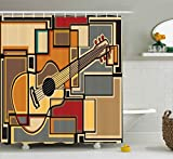 Acoustic Curtains Music Decor Shower Curtain by Ambesonne, Funky Fractal Geometric Square Shaped Background with Acoustic Guitar Figure Art, Fabric Bathroom Decor Set with Hooks, 70 Inches, Multi