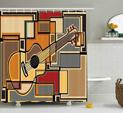 Ambesonne Music Decor Shower Curtain, Funky Fractal Geometric Square Shaped Background with Acoustic Guitar Figure Art, Fabric Bathroom Decor Set with Hooks, 70 Inches, Multi