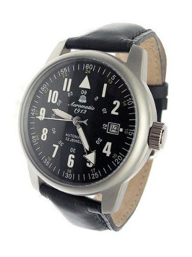 Aeromatic 1912 22-Jewel Automatic Aviator's Watch A1027 Black