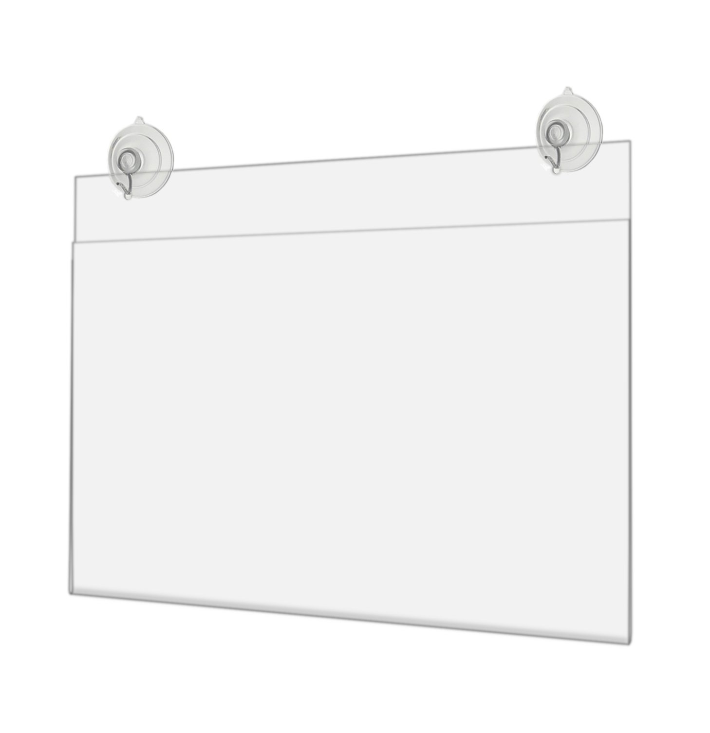 Marketing Holders Horizontal Store Front Sign Display Advertisement Flyer Frame with Suction Cups and Hanging Hooks 14''w x 8.5''h Lot of 4