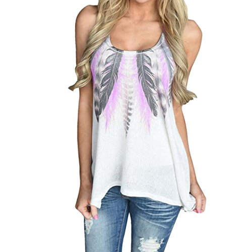 Women Plus Size Vest Tops,Todaies Women Feather Sleeveless Shirts Blouse Casual Tank Tops T-Shirt S-4XL White Blue,Purple Green,Orange,Sky Blue Vest (M, Purple)