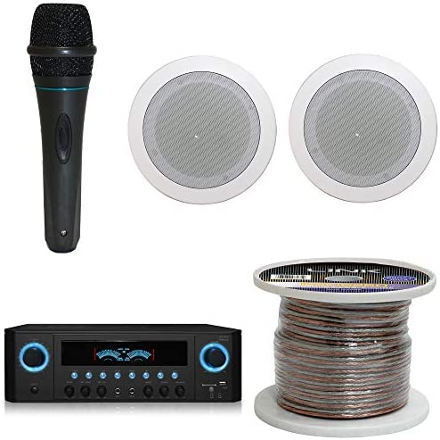 1000 Watts Dwelling System w/USB and SD Card Inputs, (Qty 6) 5.25 Flush Mount in-Wall/in-Ceiling Stereo Audio system, Mic w/10 Ft Cable, 250 ft Speaker Wire