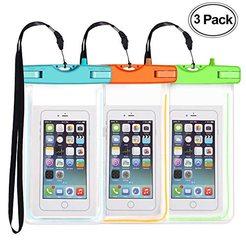 3 Pack Waterproof Phone Case, Universal Phone Bag Pouch Dry Bag for Phone iPhone X 8 7 6 Plus Samsung Galaxy s9 S8 S7 up to 6.0