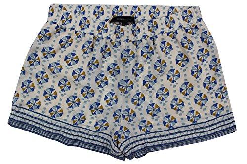 BCBGMAXAZRIA Women's Ivory Blue Floral Border Print Sheer Shorts, S (Print Border Skort)