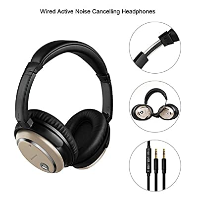 Active Noise Cancelling Headphones,Eonfine Stereo ANC Music Gaming Headsets with Inline Mic and Carrying Case for iPhone,iPad,Android Smartphones,PC,Tablet (Gold)