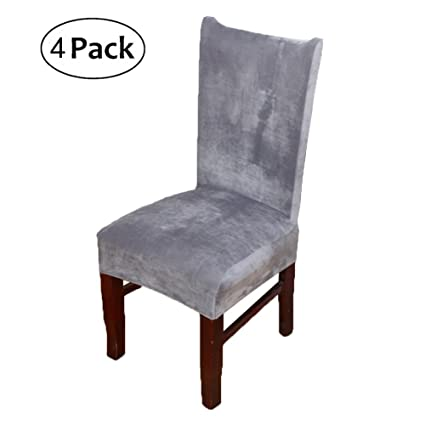 Stretch Chair Covers for Dining Room Silver Grey Set of 4 Velvet Dining Chair Slipcovers Amazon.co.uk Kitchen \u0026 Home  sc 1 st  Amazon UK & Stretch Chair Covers for Dining Room Silver Grey Set of 4 Velvet ...