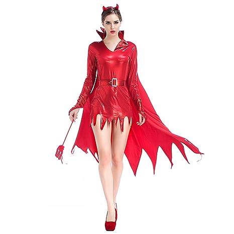 ERFD&GRF Disfraz de Diablo Rojo de Halloween para Mujeres ...