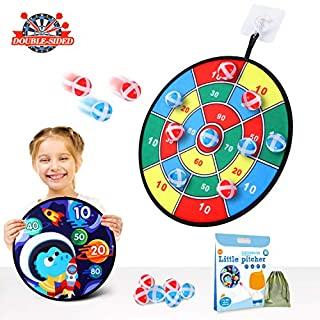Kids Games Dart Board Toys Indoor Outdoor Games for Kids Adults Family Double Sided Safe Dartboard with 12 Sticky Balls & Storage Bag - Frustration-Free Packaging Gift for Kids Ages 4-8 and Older