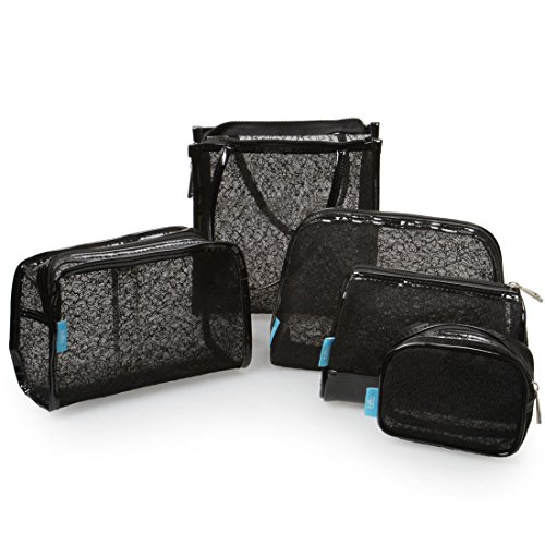 BMC Womens 5 pc Black Mesh Lace Style Design Mixed Size Sundry Travel Make Up Pouch Cosmetic Bag Set