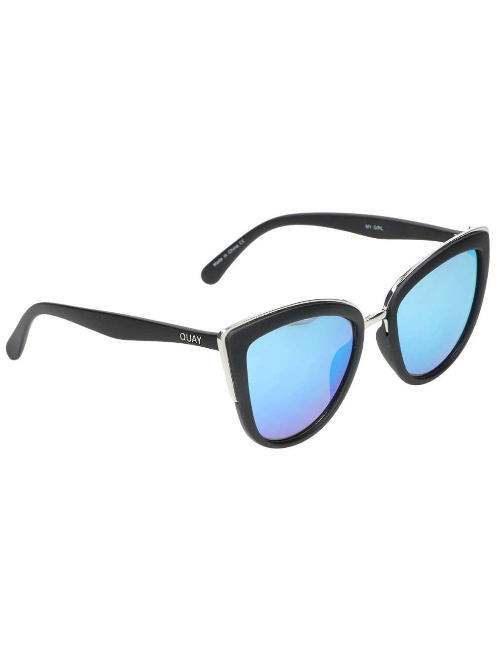 Quay Australia signature style MY GIRL Large Metal Modern Women's Cat Eye Sunglasses with Mirrored/Reflective Non-Polarized Polycarbonate Lenses with 100% UV Protection & Curved Temples, comes with Soft Case Pouch, Designed & Engineered in Australia