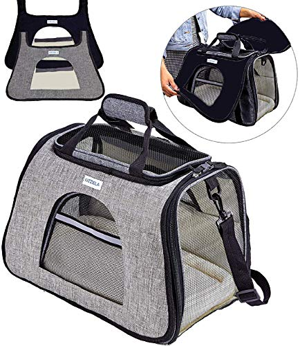 Katziela Pet Carrier with Replaceable Skin Covers – Soft Sided, Airline Approved Carrying Bag for Small Dogs and Cats