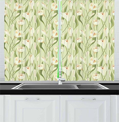 Ambesonne Garden Art Kitchen Curtains, Spring Flowers Bouque
