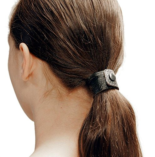 - Black Dove hair tie by Hairtyz (single piece) | Leather ponytail holder - hair accessory - scrunchie | Hide your elastic band - modular - flexible | Snap them together for long hair