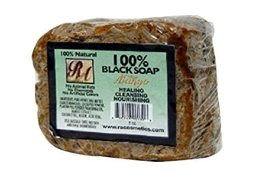 RA Cosmetics 100% Natural African Black Soap, Mango Scent, 5 oz, - Soap Mango African