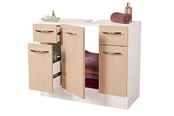 Berühmt Miomare® Waschbecken Unterschrank Weiß/Birke: Amazon.de: Küche NF49