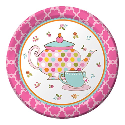 Creative Converting 8 Count Paper Dessert Plates, Tea Time -
