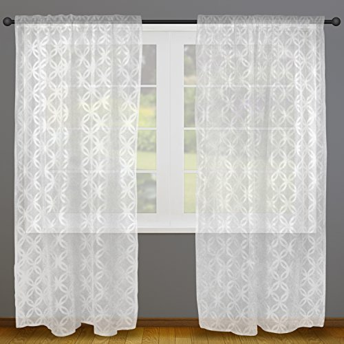 Home Essentials DII Sheer Lace Decorative Curtain Panels For Bedroom Living Room Guest Or Formal Sitting Areas Light Airy To Filter Sunlight Into