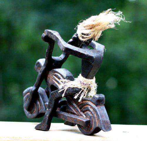 Handmade-Wooden-Single-Primitive-Tribal-Statue-Riding-Harley-Davidson-Tiki-Bar-Handcrafted-Gift-Home-Decor