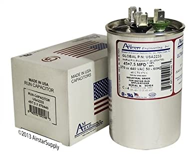 GE / Genteq 97F9883 97F9883BX 97F9883BZ2 - 45 + 7 5 uf 370 / 440 Volt Volt  VAC AmRad Round Dual Run Capacitor , Made in the USA