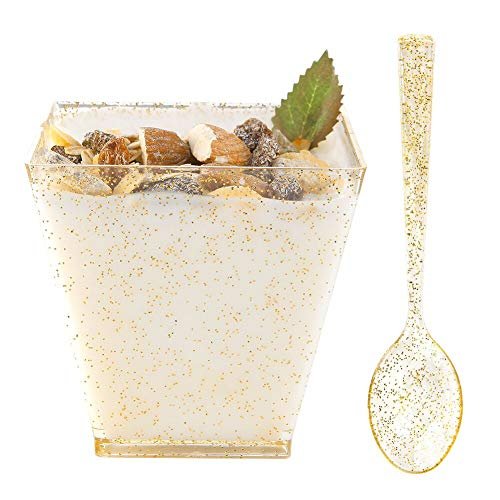(WDF 8oz Gold Glitter Medium Large Plastic Dessert Cups With Spoons-51 Disposable Square Plastic Cups & 51 Gold Glitter Tasting Spoons )