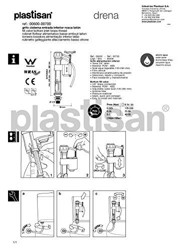 Plastisan drena - Grifo cisterna wc entrada inferior rosca laton blanco: Amazon.es: Bricolaje y herramientas