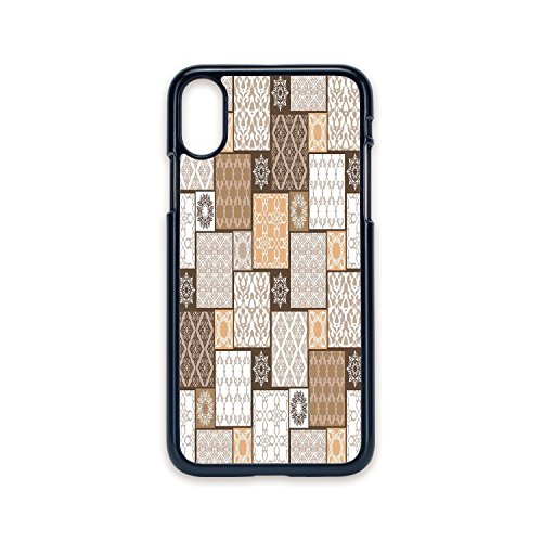 Phone Case Compatible with iPhone X 2D Print Black Edge,Arabian,Colorful Patchwork Art Oriental Patterns Ornaments Cultural Illustration Print,Brown Cream,Hard Plastic Phone - Patchwork Vuitton Louis