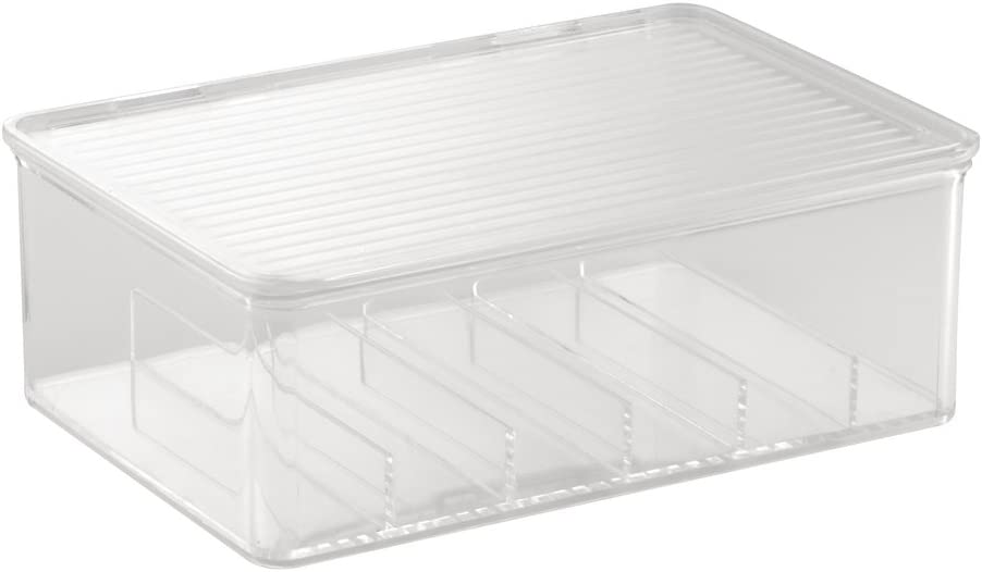 """iDesign Clarity Plastic Divided Cosmetic Organizer Box with Lid, Storage Container for Vanity, Bathroom, Kitchen Cabinets, 10.75"""" x 7.25"""" x 3.75"""" - Clear"""