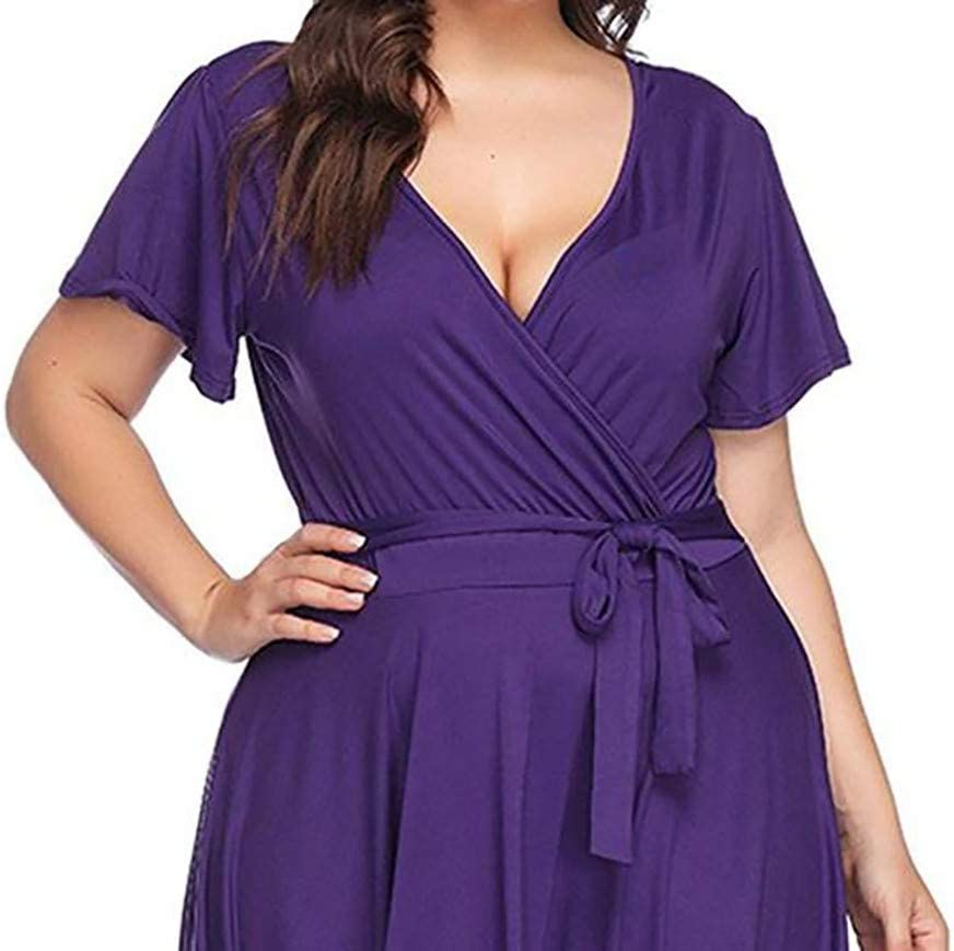 Women Dresses Plus Size Casual Bohemian Short Sleeve Belt Dress For Anniversary,Party,Valentines Day Purple,L