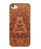 JuBeCo® iPhone SE Wooden Case, Genuine Bamboo Wood Case for iPhone SE,iPhone 5S - Handmade Wood & Slim Durable Polycarbonate Bumper (buddha cherry)