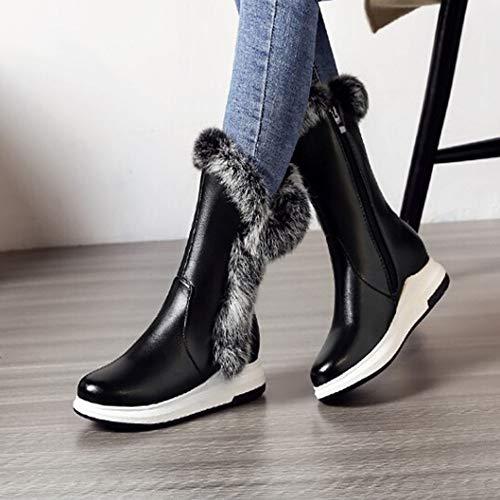 Schwarz Head zu Round Reißverschlüsse Stiefel HARRYSTORE Seitliche Fashion Warm Slope halten zu Mittlere Frauen ARCfZqw