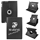 iPad Air 2 case - iPad Air 6th Generation Cover Compatible for Apple - PU Leather 360 Rotating 6 Gen Protective Case with Stand - Model A1566 or A1567 2014 (Proud Marine Girlfriend)