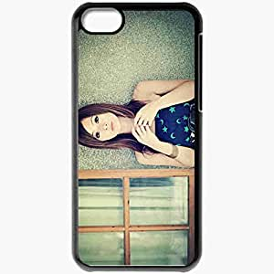 Personalized iPhone 5C Cell phone Case/Cover Skin Asian Dress Model Brown Eyed Black