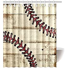 Best Friends/Sisters/Brothers Gifts Stylish Baseball Pattern Waterproof  Bathroom Decor Fabric Shower Curtain Polyester 60 X 72 Inches