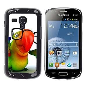 TopCaseStore / la caja del caucho duro de la cubierta de protección de la piel - Cute Friendly Parrot - Samsung Galaxy S Duos S7562