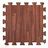 Wood Effect Interlocking Foam Mats - Perfect for Floor Protection, Garage, Exercise, Yoga, Playroom. Eva foam (9 tiles, Brown)