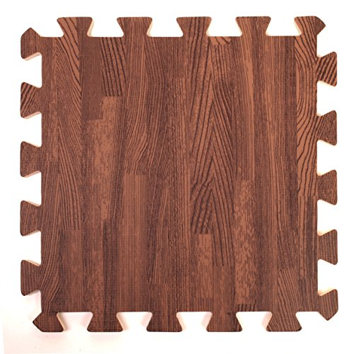 Wood Effect Interlocking Foam Mats - Perfect for Floor Protection, Garage, Exercise, Yoga, Playroom. Eva foam (9 tiles, Brown) by For the Love of Home Leisure