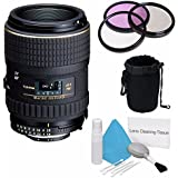 Tokina 100mm f/2.8 AT-X M100 AF Pro D Macro Autofocus Lens for Nikon AF-D (International Model) No Warranty+Deluxe Cleaning Kit + 55mm 3 Piece Filter Kit + Deluxe Lens Pouch Bundle 6