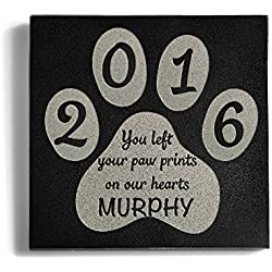 Personalized Memorial Pet Headstone Customized - You Left Your Paw Prints - 6 x 6 Granite