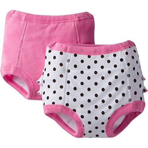 Gerber Toddler Girls' 2 Pack Terry Lined Training Pants, Polka Dots, 2T/3T