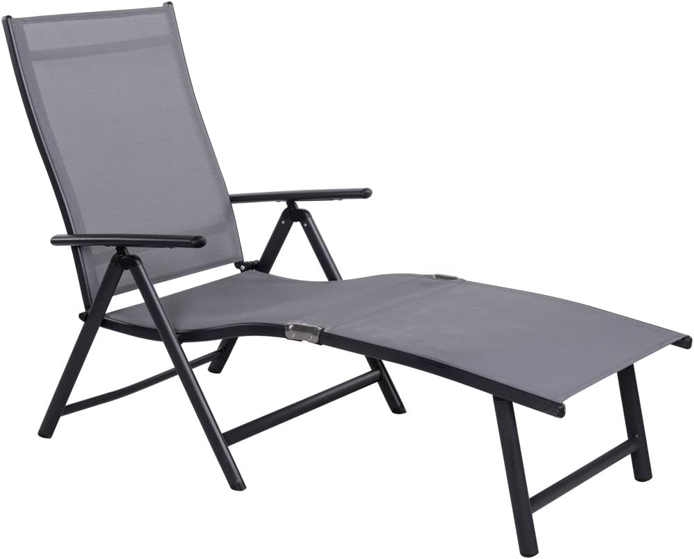 Sundale Outdoor Deluxe Aluminum Beach Yard Pool Folding Chaise Lounge Chair Recliner Outdoor Patio Grey  sc 1 st  Amazon.com : folding chaise lawn chairs - Sectionals, Sofas & Couches