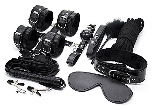 REKINK Black Cosplay Choker Collar and Hand and Ankle Restraint Emo Bondage Gothic Costume Set (Big Man Costume Ideas)