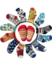 6 Pairs Toddler Socks Gilrs Baby Non Skid Ankel Crew Dress Socks with Grips Infant Anit Slip Kids Little Girl Cotton Cozy Socks(12-30 Months)