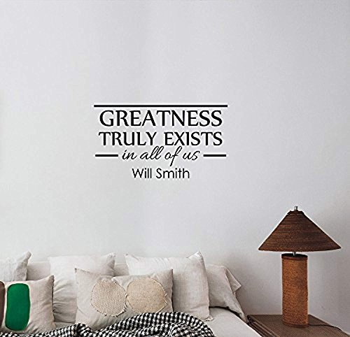 Greatness Truly Exists Will Smith Quote Wall Art Decal Vinyl Lettering Artist The Fresh Prince Inspirational Sticker Hollywood Star Saying Decorations for Home Room Office Movie Actor Decor wsq5