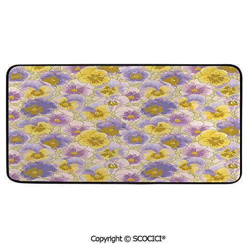 Soft Long Rug Rectangular Area mat for Bedroom Baby Room Decor Round Playhouse Carpet,Floral,Hand Drawn Pansy Flowers Garden Botanical Artistic Watercolor,39
