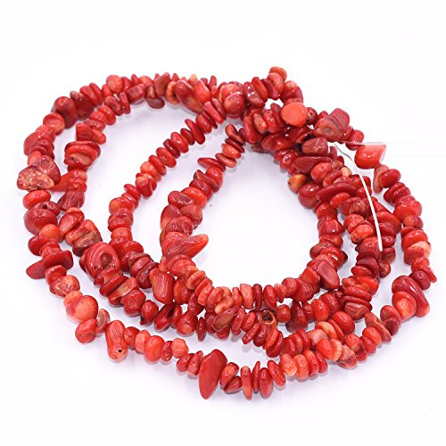 Coral Chip Bracelet Red (AAA Natural Red Coral Chipbeads Freeform Chips Strand for Jewelry Making Necklace / Bracelet / Earring / Keychain Tumbled Gemstone by Asingeloo)
