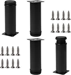 6inch Adjustable Metal Table Legs, Replacement Furniture Legs for Sofa Couch Chair Ottoman Cabinet, Set of 4(Black)