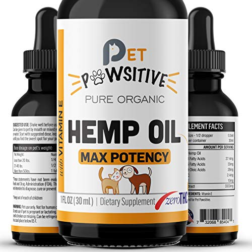 Pet Pawsitive – Hemp Oil for Dogs and Cats – Made in USA – Max Potency – Calming Aid – Separation Anxiety, Joint Pain…