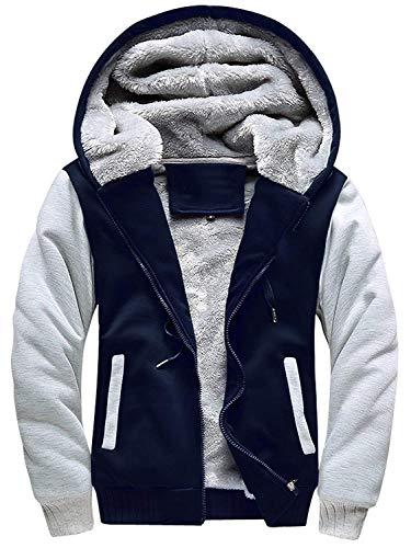 MANLUODANNI Men's Casual Hooed Hoodies Thick Wool Warm Winter Jacket Coats Navy XXL